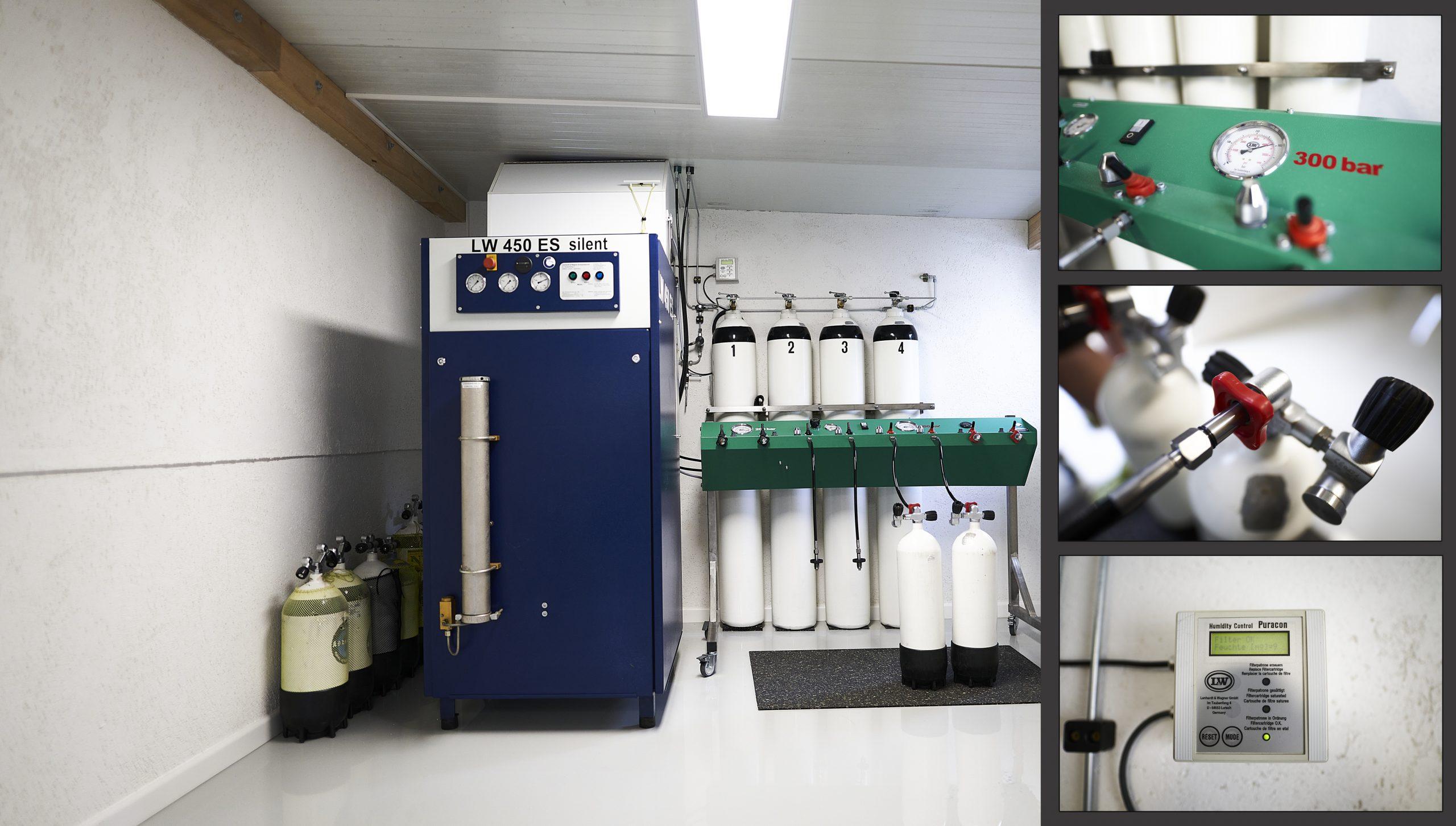 Kompressoranlage, Füllstation, Füllkaskade. Puracon Feuchtigkeitsmesser, 8-fach Füllleiste, 200 Bar, 300 bar